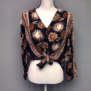 VTG 90s Indian Batik Rayon Flowy Tunic Blouse Suns